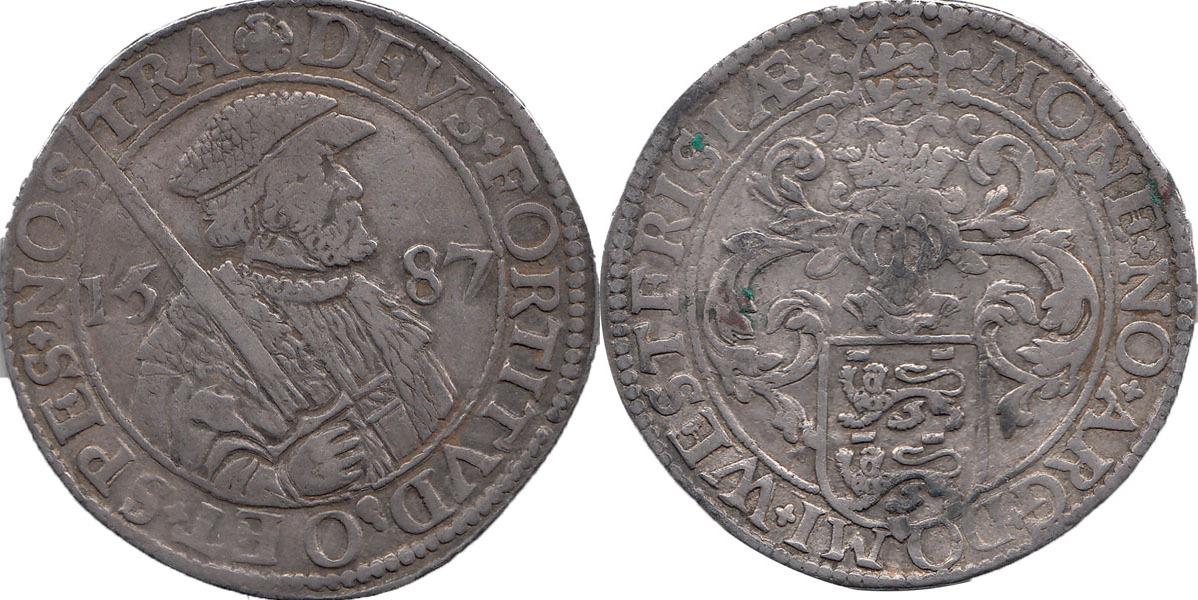 Westfriesischer Reichstaler 1587 Niederlande / Provinz Westfriesland Büste einer anonymen Herr mit Hut und mit einem Schwert in seiner rechten Hand. Sehr Schön +