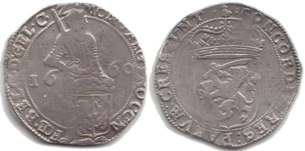 Silver Ducat 1660 Netherlands/ Province Gelderland Knight standing behind shield VF
