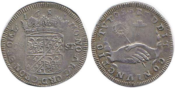 28 Stuber 1681 Niederlande / Provinz Groningen Hände mit Hut und Sonne Selten! VF+