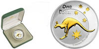 Australia 1 Dollar 2005 Bu in Original Box with COA Silver Kangaroo GOLD... 84,50 EUR