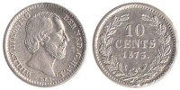 Netherlands 10 Cent 1873 Very Fine Willem III 1849-1890 65,00 EUR