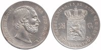 2½ Guilder 1852a Netherlands Willem III 1849 - 1890 Extremely Fine  149,50 EUR  +  10,00 EUR shipping