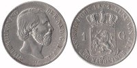 1 Guilder 1864 Netherlands Willem III 1849 - 1890 Very Fine  59,50 EUR  +  10,00 EUR shipping