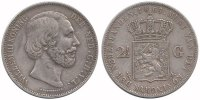 2½ Guilder 1864a Netherlands Willem III 1849 - 1890 Fine  37,50 EUR  +  10,00 EUR shipping