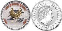 Australien 1 Dollar Lunar 1 Year of the Rooster Colored and Gilded!