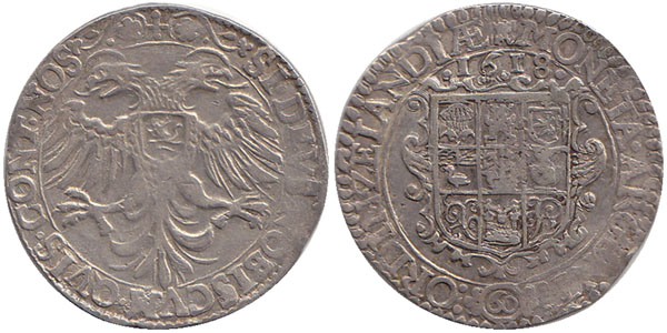 60 Groot 1618 Niederlande / Provinz Zeeland Adler mit zwei Köpfen und Provinz Arme auf der Brust Sehr Schön / Vorzüglich