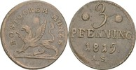 3 Pfennig 1815 Rostock  f.vz  18,00 EUR  zzgl. 3,00 EUR Versand
