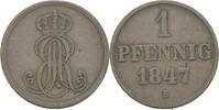 Pfennig 1847 Hannover Ernst August, 1837-1851 ss  8,00 EUR  zzgl. 3,00 EUR Versand