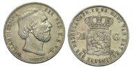 2 1/2 Gulden 1858 Niederlande Wilhelm III., 1849 - 1890 Sehr schön  55,00 EUR  zzgl. 3,00 EUR Versand