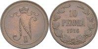 10 Penniä 1916 Russland Finnland Nikolaus II., 1894-1917. vz+  40,00 EUR  zzgl. 3,00 EUR Versand