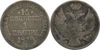 Zloty = 15 Kopeke 1838 Polen Russland Nikolaus, 1825-1855 fss  40,00 EUR  zzgl. 3,00 EUR Versand