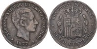 10 Centimos 1877 OM Spanien Alfonso XII., 1874-85 ss  10,00 EUR  zzgl. 3,00 EUR Versand