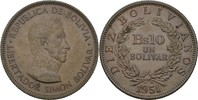 10 Bolivianos (1 Bolivar) 1951 Bolivien Simon Bolivar prägefrisch  10,00 EUR  zzgl. 3,00 EUR Versand