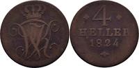 4 Heller 1824 Hessen Kassel Wilhelm II., 1821-1847. f.ss  11,00 EUR  zzgl. 3,00 EUR Versand
