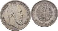 5 Mark 1875 Württemberg Stuttgart Karl, 1864-1891 Randschläge, ss  50,00 EUR  zzgl. 3,00 EUR Versand