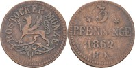 3 Pfennige 1862 Rostock  ss  12,00 EUR  zzgl. 3,00 EUR Versand