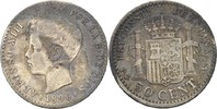 50 Centimos 1896 PGV Spanien Alfonso XIII., 1886-1931 fast ss  25,00 EUR  zzgl. 3,00 EUR Versand