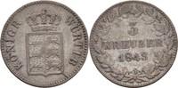 3 Kreuzer 1843 Württemberg Wilhelm I., 1816-64 ss  15,00 EUR  zzgl. 3,00 EUR Versand