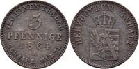 3 Pfennige 1864 A Anhalt Dessau Leopold Friedrich, 1817-71 ss  10,00 EUR  zzgl. 3,00 EUR Versand