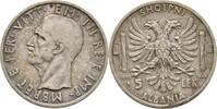 5 Lek 1939 R Albanien Vittorio Emanuele III., 1939-43 vz kl. Kratzer  40,00 EUR  zzgl. 3,00 EUR Versand