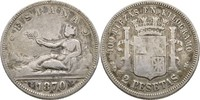 2 Pesetas 1870/73? Spanien  f.ss  12,00 EUR  zzgl. 3,00 EUR Versand