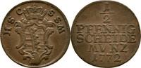 1/2 Pfennig 1772 Sachsen Coburg Saalfeld Ernst Friedrich, 1764-1800 ss  20,00 EUR  zzgl. 3,00 EUR Versand