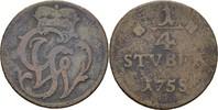 1/4 Stüber 1758 Wied Runkel Johann Ludwig Adolf 1706-1762 ss/s  15,00 EUR  zzgl. 3,00 EUR Versand