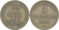 3 Pfennige 1858 Oldenburg für Birkenfeld Friedrich Peter, 1853-1900 ss  30,00 EUR  zzgl. 3,00 EUR Versand