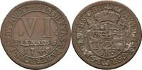 6 Pfennig 1743 Bistum Paderborn Clemens August von Bayern, 1719-1761 ss  25,00 EUR  zzgl. 3,00 EUR Versand