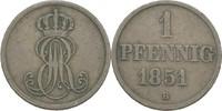 Pfennig 1851 Hannover Ernst August, 1837-1851 ss  8,00 EUR  zzgl. 3,00 EUR Versand