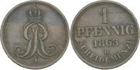 Pfennig 1863 Hannover Georg V., 1851-1866 f.vz  10,00 EUR  zzgl. 3,00 EUR Versand