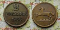 2 Pfenning 1853 Deutschland Braunschweig 2 Pfennige 1853 B, Wilhelm ss  9,00 EUR  zzgl. 5,00 EUR Versand