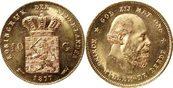 10 Gulden 1877 Niederlande 10 Gulden 1877 Niederlande -- GOLD vorzüglich - stempelglanz