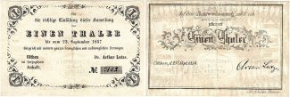 Cöthen 1 Thaler 1857 leicht gebraucht 1 Th...