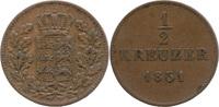 ½ Kreuzer 1851, Württemberg, Wilhelm I., 1816-1864, ss  5,00 EUR  zzgl. 3,50 EUR Versand