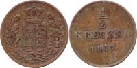 1/2 Kreuzer 1847, Württemberg, Wilhelm I., 1816-1864, ss  5,00 EUR  zzgl. 3,50 EUR Versand