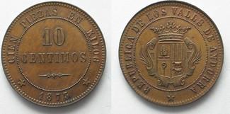 1873 Andorra ANDORRA Probe 10 Centimos 1873 REVOLUTION v. A. Brichaut Kupfer RRR!!! # 36760 st