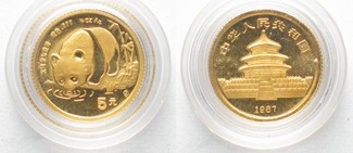 1987 China CHINA 5 Yuan 1987 GOLDPANDA 1/20 oz Gold # 36779 st