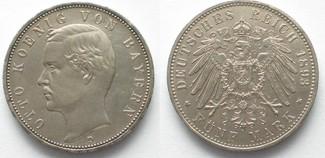 1893 Bayern BAYERN 5 Mark 1893 D OTTO Silber J.46 SELTENES JAHR! ERHALTUNG! # 95069 vz