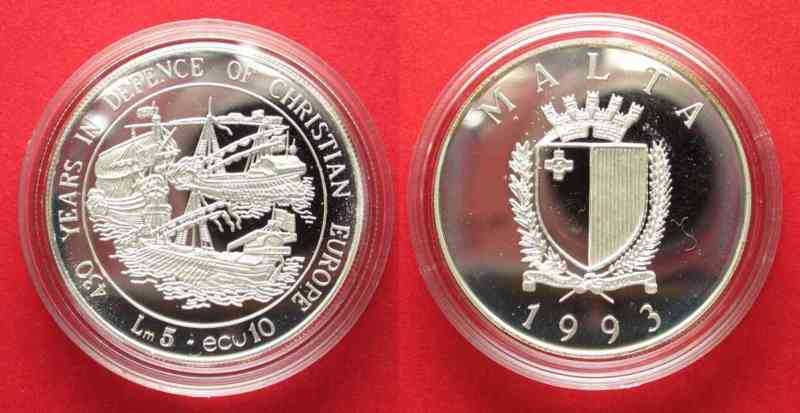 1993 Malta MALTA 5 Liri / 10 Ecu 1993 SEE BATTLE of LEPANTO silver Proof SCARCE! # 62700 Proof
