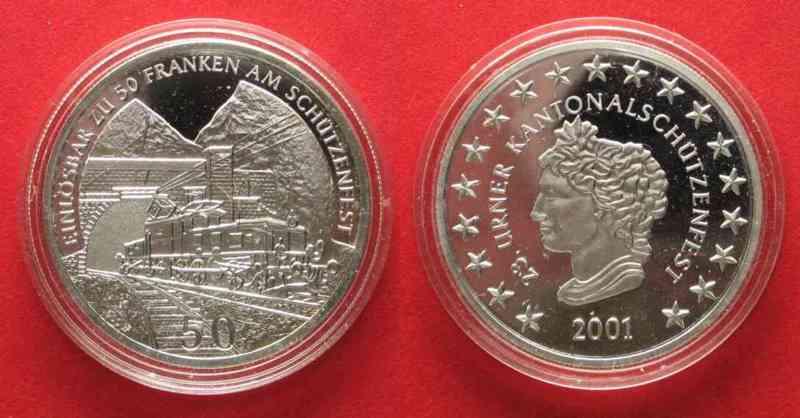 2001 Schweiz - Schützentaler ALTDORF (Uri) 50 Franken 2001 SCHÜTZENTALER Silber RAR!!! # 71186 PP
