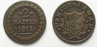 1814 Schweiz - Aargau Swiss AARGAU 2 Rappen 1814 billon VF+ # 14325 ss  24,99 EUR  plus 5,00 EUR verzending