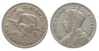 Neuseeland  NEW ZEALAND Shilling 1935 GEORGE V Maori warrior silver aVF # 50274
