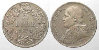 Vatikan  Italy PAPAL STATE 5 Lire 1870 PIUS IX An.XXV silver aXF! # 77734