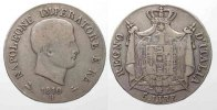 Italien  KINGDOM of NAPOLEON 5 Lire 1810 B-BOLOGNA edge in relief silver aVF/VF # 77747