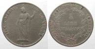 Italien - Lombardei  GOVERNO PROVVISORIO DI LOMBARDIA 5 Lire 1848 RAMI LUNGHI argento R2!!! # 77753