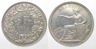 Schweiz  SWITZERLAND 5 Francs 1874 B. SEATED HELVETIA silver XF! # 77755