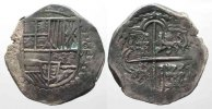 Bolivien  BOLIVIA 8 Reales 1598-1621 Potosi PHILIP III silver COB MACUQUINA VF # 77759