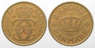 Dnemark  DNEMARK 2 Kroner 1924 CHRISTIAN X. Al-Br RAR!!! # 77769
