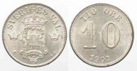Schweden  SCHWEDEN 10 Ore 1907 OSCAR II. Silber ERHALTUNG!!! # 77770